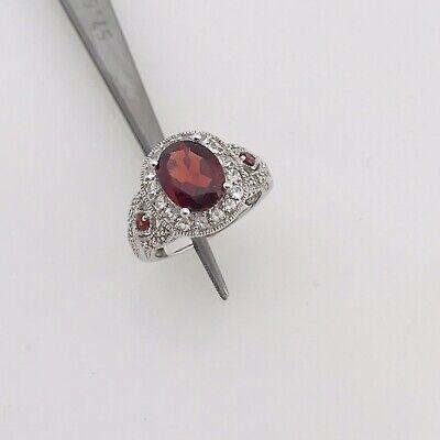 14k White Gold Ladies Oval Garnet Braided Filigree 3 Stone Halo Ring Size -