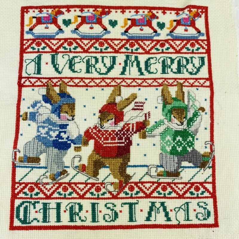 Stitched Completed Cross Stitch Very Merry Christmas Skiing Bunnies Piece