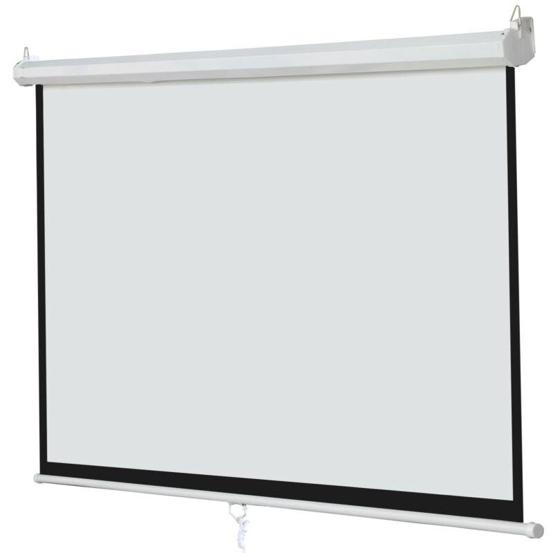 "Matte White 100"" 16:9 Projection Projector Screen Home Movie Manual Pull Down"