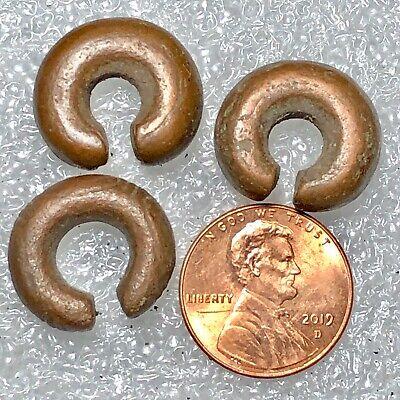 "Ancient Javanese (Primitive) Copper Ear Ornaments 3/4"" 6mm 14th-16th Cent."