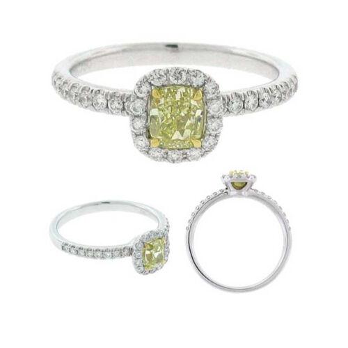 Fancy Yellow 2 CT GIA Certified Cushion & Round Diamond Engagement Ring 18k Gold