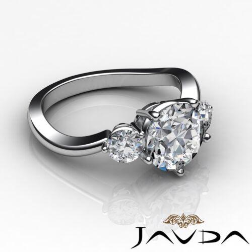 Round Natural Diamond Engagement GIA F SI1 Platinum 3 Three Stone Ring 1.5ct