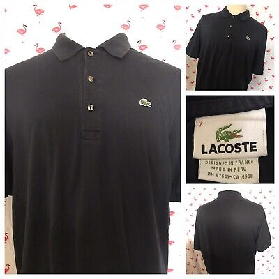 Lacoste Men Size 7 Short Sleeve Soft Cotton Black Polo A1698