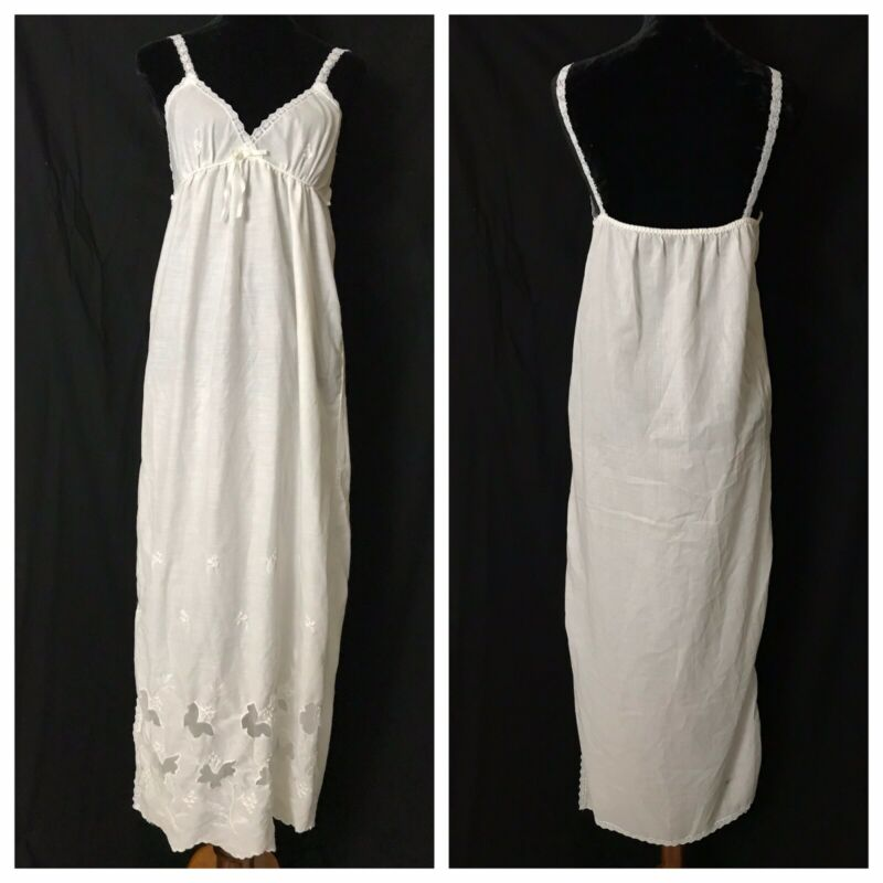 Vintage Miss Dior Lingerie White Cotton Blend Long Slip Nightgown Size Small