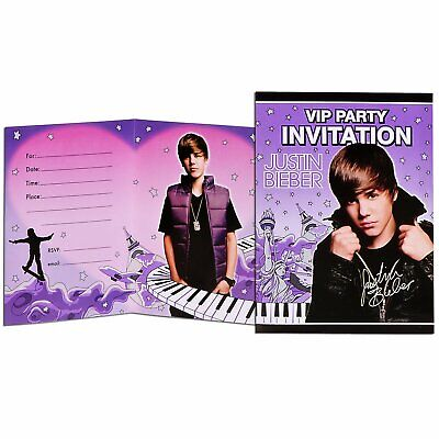Justin Bieber Party Invitations with Envelopes (8 per pack) NEW - Justin Bieber Invitations