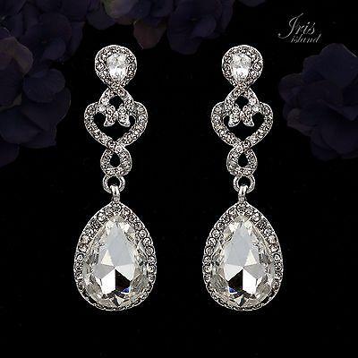 Pearl Rhodium Plated Earrings - Rhodium Plated Clear Crystal Rhinestone Wedding Bridal Drop Dangle Earrings 0020