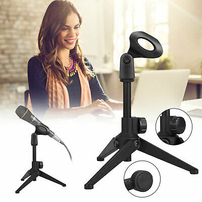 Microphone Tripod Stand Adjustable Metal Clamp Clip Holder For Desktop Table Mic