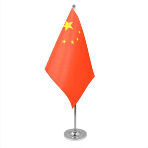 China Satin & Chrome Premium Table Flag