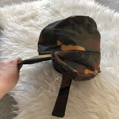 73a20e1f6e11f Vintage CABELA S Goretex Camo Print Hat Made in USA Faux fur lining Sz M  Flawed