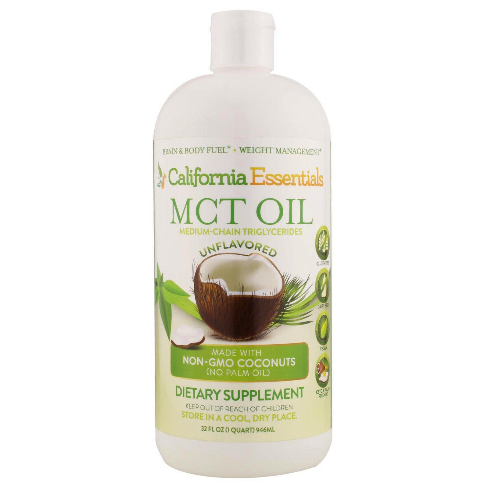 California Essentials MCT Oil 32 oz Non-GMO C8 & C10 Coconut