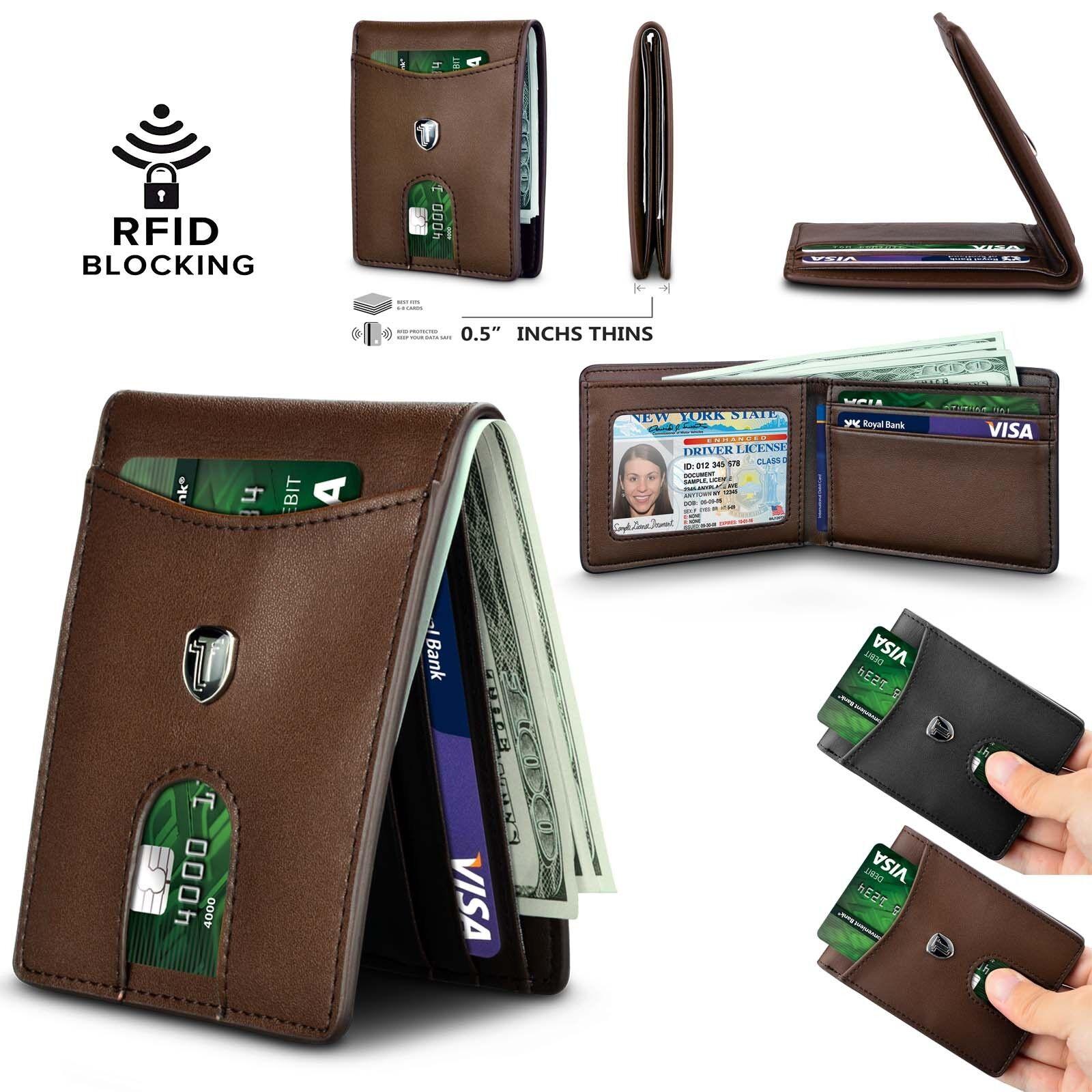 RFID Blocking Men Wallet Bifold Genuine Leather Minimalist F