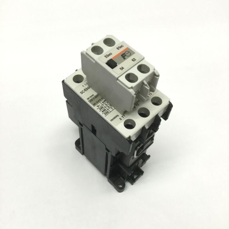 Fuji Electric SC-E04/G IEC Contactor 600VAC 18A 3PH, 24VDC Coil w/Aux 1NO-1NC
