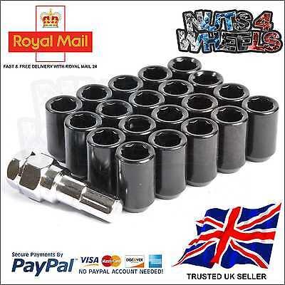 20X BLACK TUNER WHEEL NUTS M12X1.5 fits HONDA MAZDA TOYOTA MITSUBISHI FORD LEXUS