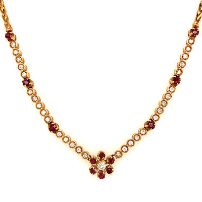 18K Vintage Gucci Ruby and Diamond Necklace Yellow Gold
