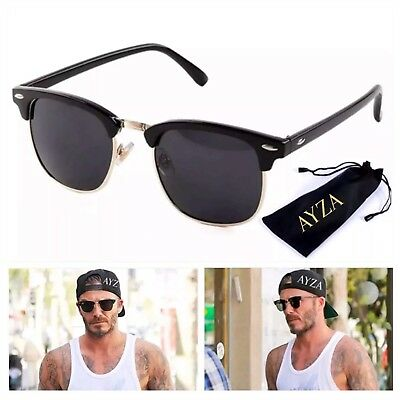 AYZA Classic Club Retro Sonnenbrille Herren  Schwarzgold Schutztasche