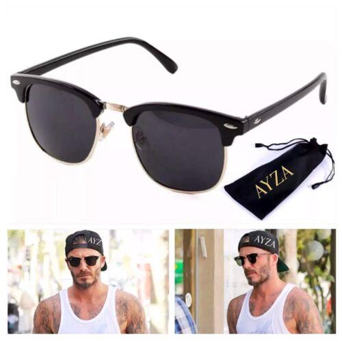 AYZA Classic Club Way Retro Sonnenbrille Herren Master Schwarzgold Schutztasche