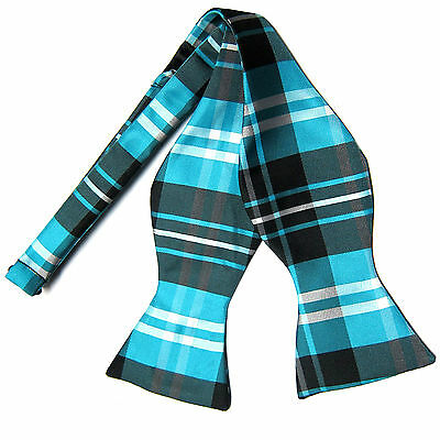 New men's self tie free style bow tie plaid & checkers formal turquoise (Blue Freestyle Bow Tie)