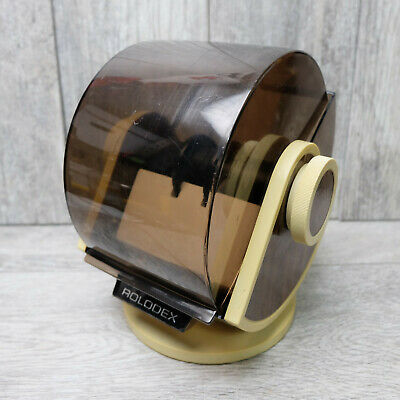 Vintage Rolodex Corporation Sw-24c Brown Wood Grain Swivel Rotary Card File