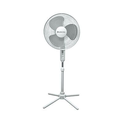 "Comfort Zone 16"" Ped Oscillating Quad Pod Fan, White"