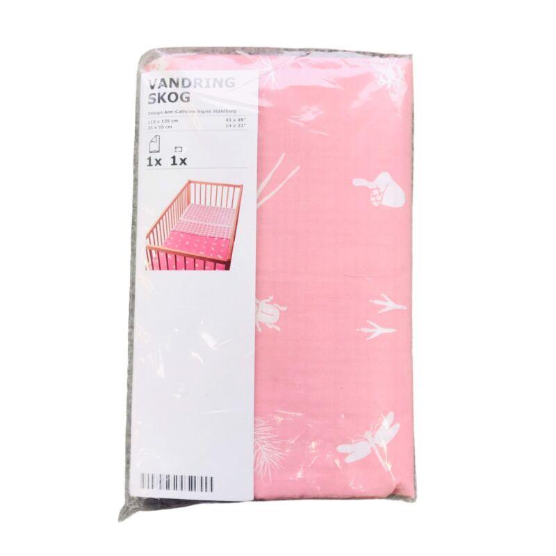 Ikea Vandring Skog Crib Duvet Cover and Pillowcase New in Package Pink White