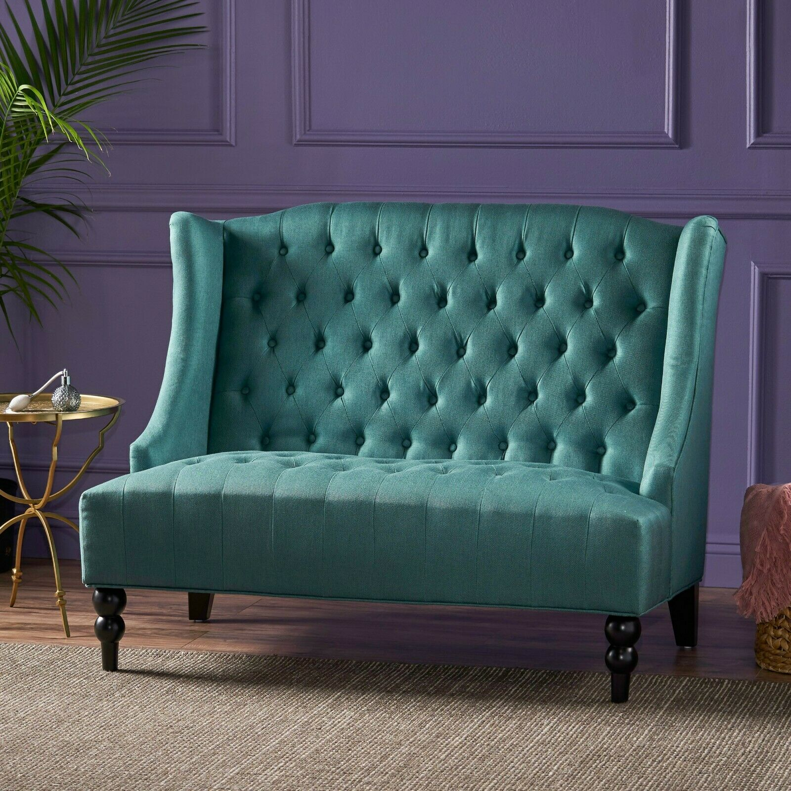 Leona Traditional High Back Tufted Winged Fabric Loveseat Furniture