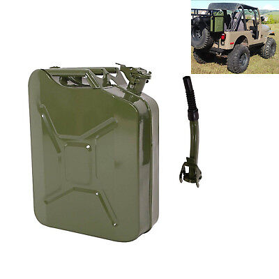 5 Gallon Jerry Can 20l Gasoline Fuel Water Tank Backup Gas Metal Container Green