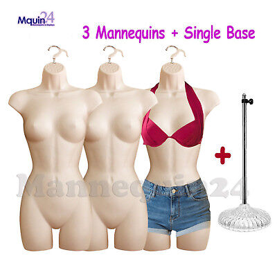 Female Mannequin Torsos - Lot Of 3 Flesh Womens Body Forms W3 Hangers 1 Stand
