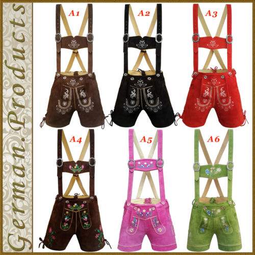 New German Bavarian Trachten Oktoberfest Ladies Short Lederhosen Women Outfit