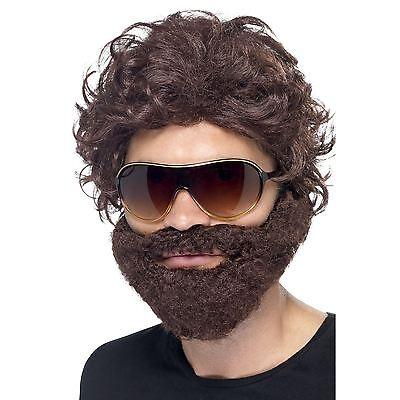 Stag Do Party Mens Brown Wig, Beard and Sunglasses Set Alan Hangover Las - Alan Hangover Halloween