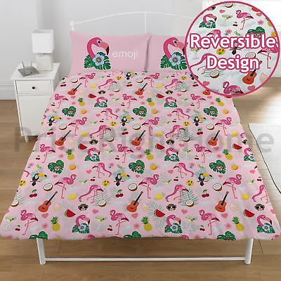 EMOJI FLAMINGO TROPICAL DOUBLE DUVET COVER SET REVERSIBLE GIRLS WHITE / PINK (Pink Flamingo Emoji)
