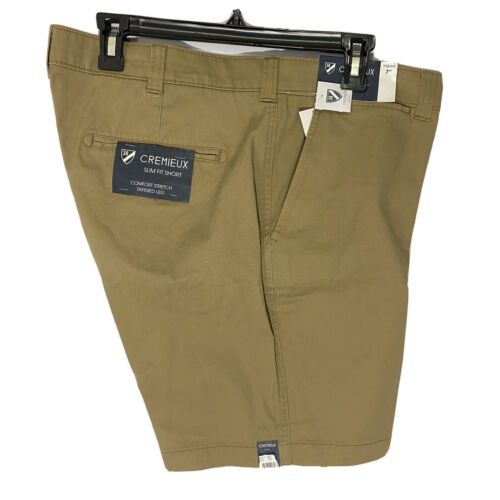 """Cremieux Mens Soho Slim Fit Khaki Shorts 40 Flat Front 7"""" Comfort Stretch Chino Clothing, Shoes & Accessories"""