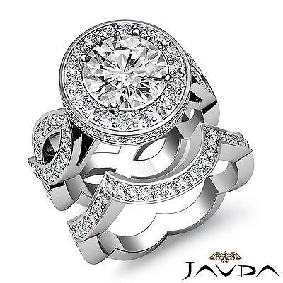 Cross Shank Circa Halo Round Diamond Engagement Pave Set Ring GIA I SI1 2.8 Ct 1