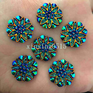 10pcs 18mm AB Resin flower Flat back Rhinestone Wedding 2 Hole buttons diy/black