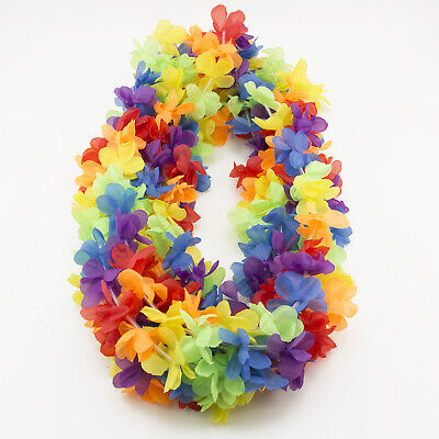 Colorful Simulated Silk Flower Necklace Leis  Hula Luau Hawaiian Party 50 pc LOT](Hula Party Supplies)
