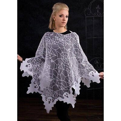 USA MADE Womens White Ghost Spiderwebs Lace Poncho Halloween Costume Spooky Cape