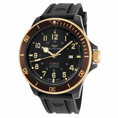 Glycine Men's Combat Sub GL0278 46mm Black Dial Silicone Watch