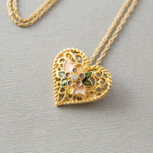 Avon Vintage Enamel Gold Tone Floral Flower Heart Pendant Necklace Brooch Pin