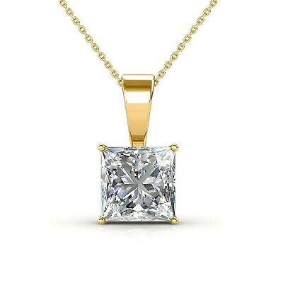 1 Ct Princess Cut Diamond Pendant with Chain Solitaire Necklace 14k Yellow Gold - Diamond Princess Cut Solitaire Pendant