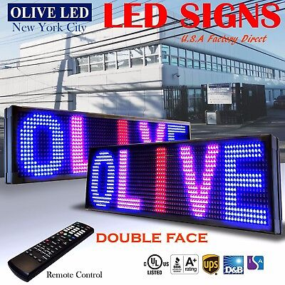 Olive Led Sign 3c Rbp 2face 15x40 Ir Programmable Scroll. Message Display Emc