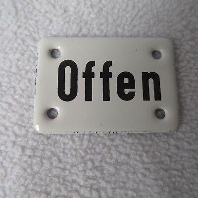 Emailschild Offen 5,5x4cm Emaille Schild Emailleschild Türschild Hinweisschild