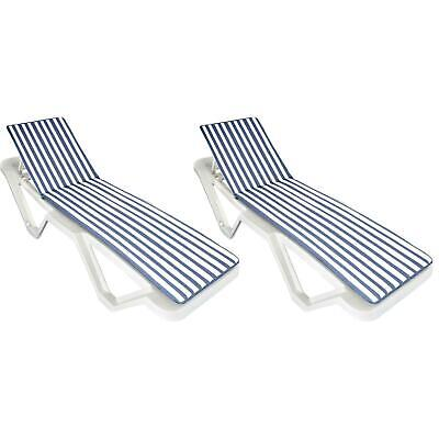 Blue / White Sun Lounger Cushion Pad. Padded For Sunlounger Garden Patio Bed x2