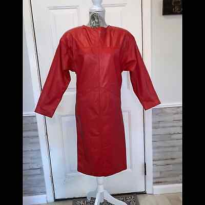 80s Dresses | Casual to Party Dresses Amazing Vintage 1980s G-III Red Leather Dress❣️ $35.00 AT vintagedancer.com
