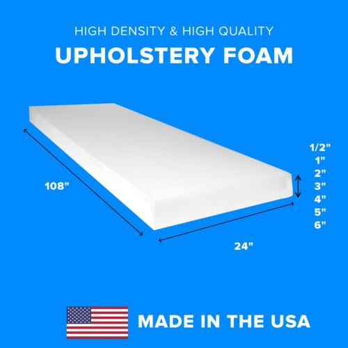"""High Density Upholstery Foam Seat Couch Cushion Replacement - 24"""" X 108"""""""