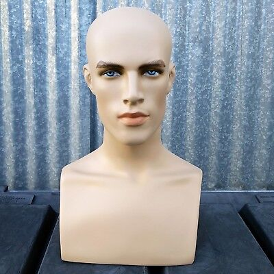 Mn-413 Male Fleshtone Mannequin Head Form Display With Bust
