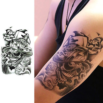 Gothic Tattoos (Pirate Captain Punk Gothic Temporary Tattoo Waterproof Body Arm Leg Art)