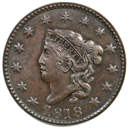 1818 N-6 Matron or Coronet Head Large Cent Coin 1c