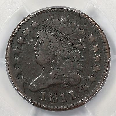 Click now to see the BUY IT NOW Price! 1811 C 1 PCGS VF DETAILS 4 STAR CLASSIC HEAD HALF CENT COIN 1/2C
