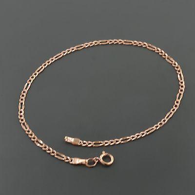 14K ROSE GOLD 2.1MM WIDE FANCY FIGARO LINK 7.5 INCH BRACELET 14k Rose Gold Bangle Bracelet