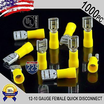 1000 Pack 12-10 Gauge Female Quick Disconnect Yellow Vinyl Crimp Terminals .250