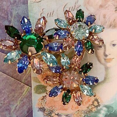 Vintage Lavender, Dark Green & Blue Rhinestone Flower Pin Dark Green Rhinestone